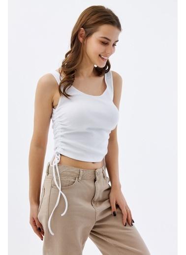 Pattaya Pattaya Kadın Fitilli Büzgülü Kolsuz Bluz P21S201-2415 Beyaz